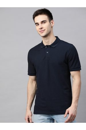 Marks & Spencer Men Navy Blue Slim Fit Pure Cotton Solid Polo Collar T-shirt