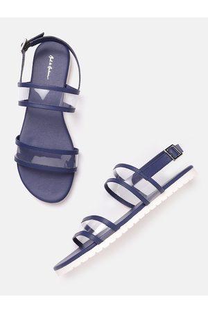 Mast & Harbour Women Navy Blue & Transparent Solid Open Toe Flats