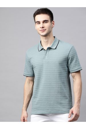 Marks & Spencer Men Green Self-Striped Pure Cotton Polo Collar T-shirt