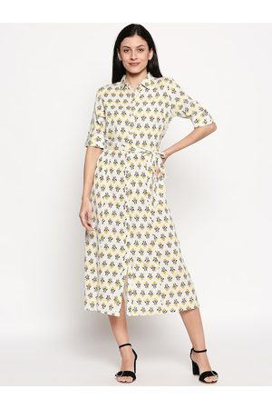 PEOPLE Women Off-White Printed Cotton Shirt Dress