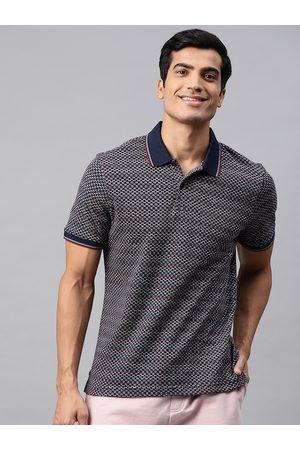 Marks & Spencer Men Navy Blue Self Design Pure Cotton Polo Collar T-shirt