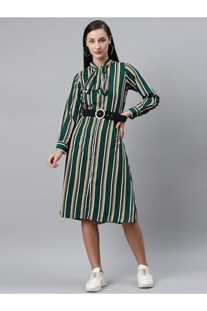 Pluss Women Green & White Striped A-Line Dress with Belt