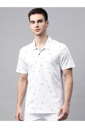 Marks & Spencer Men White Printed Pure Cotton Polo Collar T-shirt