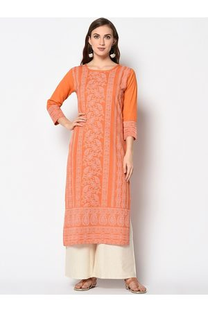 Kvsfab Women Orange & Off White Ethnic Motifs Printed Block Print Kurta