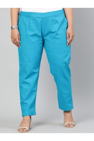 Jaipur Women Turquoise Blue Regular Fit Solid Regular Trousers