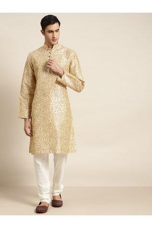 SOJANYA Men Beige & Golden Ethnic Motifs Print Straight Kurta with Pyjamas