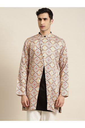 SOJANYA Men Off-White & Maroon Printed Asymmetric Closure Longline Ethnic Tailored Jacket