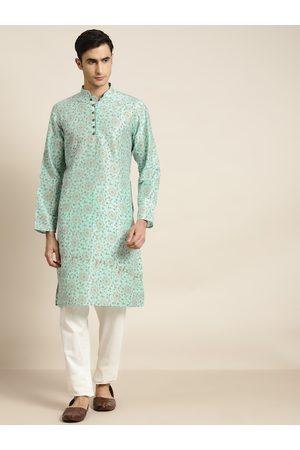 SOJANYA Men Sea Green & Off-White Printed Kurta with Churidar