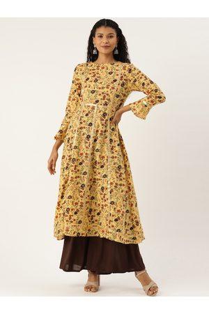 Cottinfab Women Yellow Floral Printed Flared Sleeves Kurta