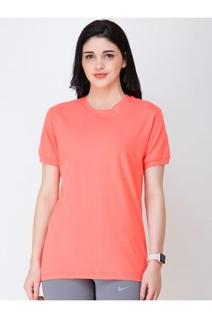 Scorpius Women Short Sleeve - Women Coral Pink Solid Round Neck T-shirt