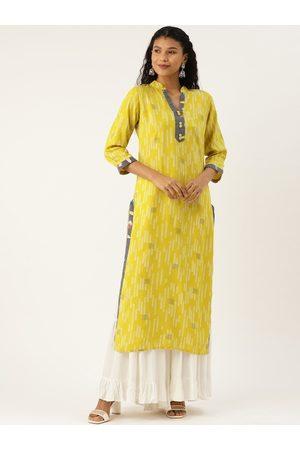 Cottinfab Women Yellow Thread Work Kurta