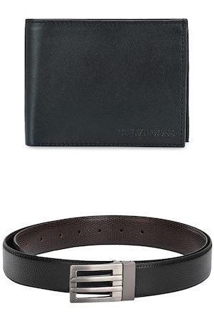 Calvadoss Men Belts - Men Black & Brown Premium Belt & Wallet Accessory Gift Set