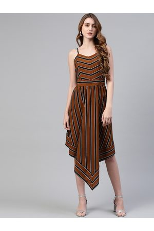Pluss Women Brown Striped A-Line Asymmetric Hem Dress