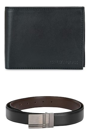 Calvadoss Men Black & Brown Leather Accessory Gift Set