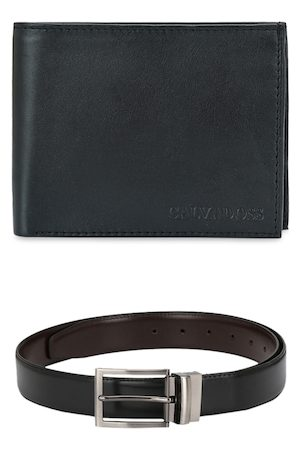 Calvadoss Men Sets - Men Black & Brown Leather Accessory Gift Set