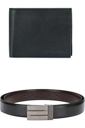 Calvadoss Men Black & Brown Premium Belt & Leather Wallet Gift Set
