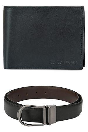 Calvadoss Men Belts - Men Black & Brown Premium Belt & Leather Wallet Accessory Gift Set