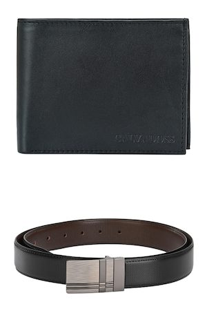 Calvadoss Men Black & Brown Belt & Wallet Accessory Gift Set