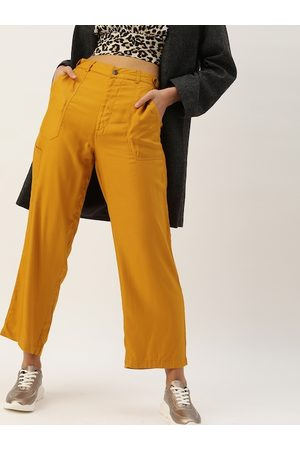 Style Quotient Women Mustard Yellow Flared Solid Parallel Trousers