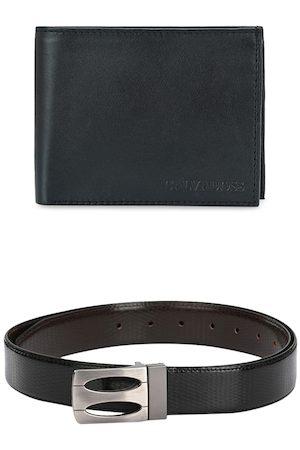 Calvadoss Men Black & Brown Premium Belt & Wallet Accessory Gift Set