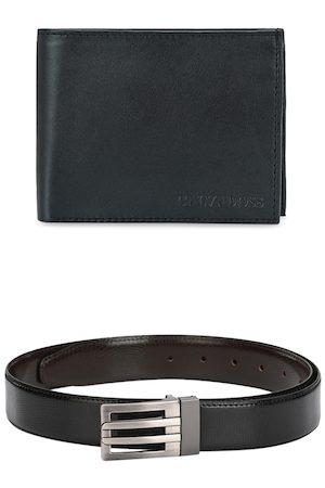 Calvadoss Men Belts - Men Black & Brown Premium Belt & Wallet Gift Set