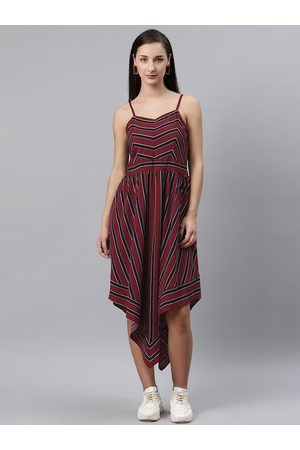 Pluss Women Midi Dresses - Women Maroon & Black Striped Asymmetric Midi A-Line Dress