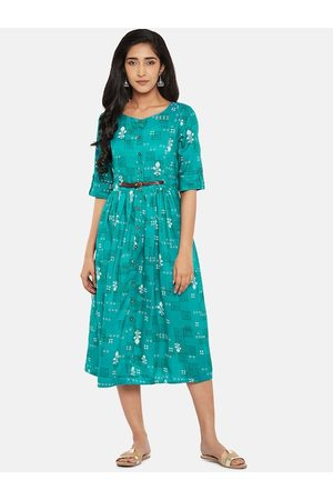 Pantaloons Women Green Printed Fit and Flare Dress