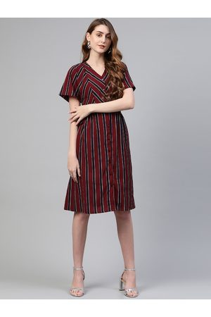 Pluss Women Maroon Striped A-Line Dress