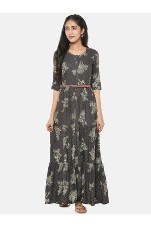 Pantaloons Women Charcoal Printed Maxi Dress