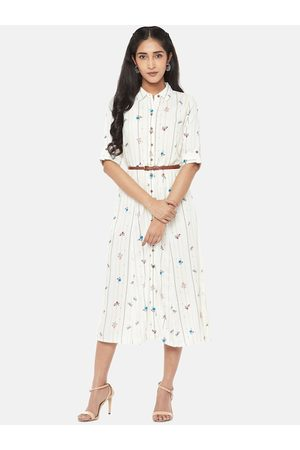 Pantaloons Women Casual Dresses - Women Off-White Striped Shirt Dress