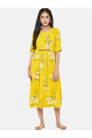 Pantaloons Women Mustard Printed Fit and Flare Dress