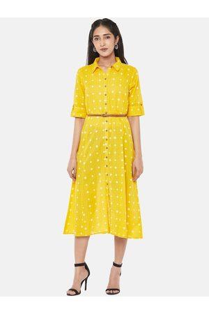 Pantaloons Women Casual Dresses - Women Mustard Printed Shirt Dress