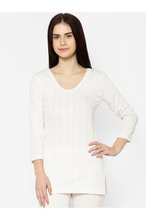 VIMAL JONNEY Women White Solid Thermal Top