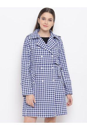 FABNEST Women Blue & White Checked Handloom Trench Coat