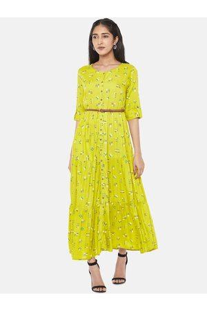 Pantaloons Women Lime Green Printed Maxi Dress