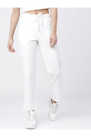 Tokyo Talkies Women White Solid Track Pants