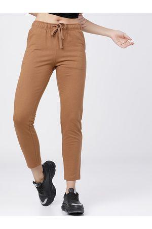 Tokyo Talkies Women Brown Solid Slim-Fit Track Pants