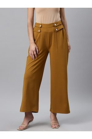 Pluss Women Mustard Yellow Straight Fit Solid Parallel Trousers