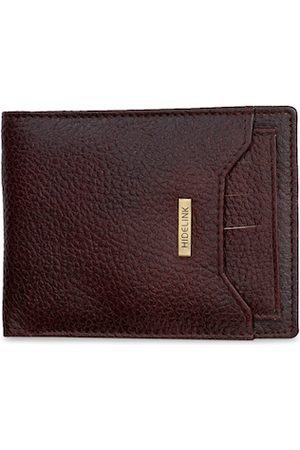 Hidelink Men Brown Textured Genuine RFID Leather Two Fold Wallet