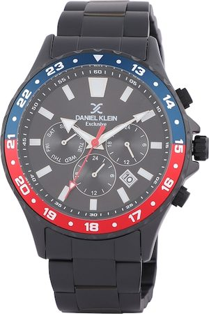 Daniel Klein Men Gunmetal-Toned & Black Analogue Watch DK.1.12333-4