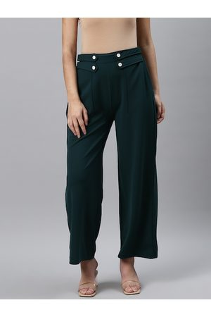 Pluss Women Teal Green Straight Fit Solid Parallel Trousers