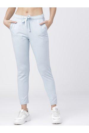 Tokyo Talkies Women Blue Solid Slim-Fit Track Pants