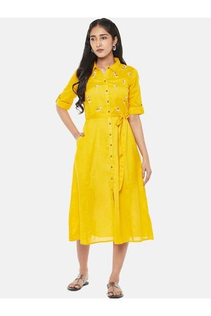 Pantaloons Women Mustard Solid Shirt Dress