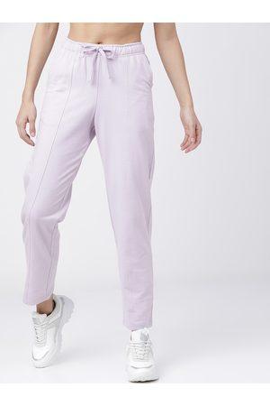 Tokyo Talkies Women Lavender-Coloured Solid Track Pants
