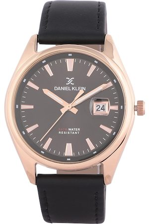 Daniel Klein Men Gunmetal-Toned & Black Analogue Watch
