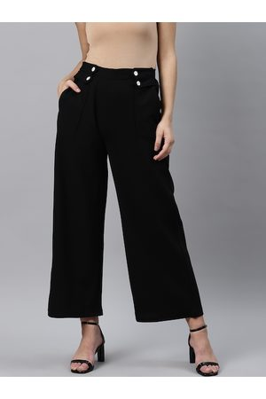 Pluss Women Black Straight Fit Solid Parallel Trousers