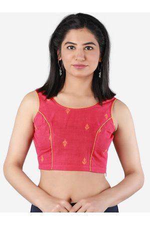 Llajja Women Magenta-Pink & Yellow Printed Saree Blouse