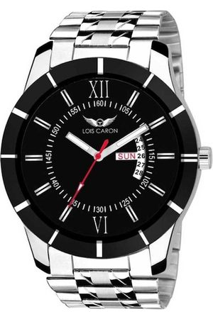LOIS CARON Men Black & Silver-Toned Analogue Watch MLC-8015