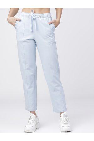 Tokyo Talkies Women Blue Solid Track Pants