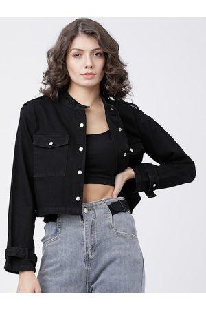 Tokyo Talkies Women Black Solid Open Front Jacket